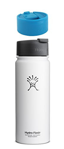 Hydro Flask Insulated Stainless Steel Water Bottle Wide Mouth with Hydro Flip Lid, 18-Ounce,18-Ounce,Arctic White with Electric Blue Hydro Lid