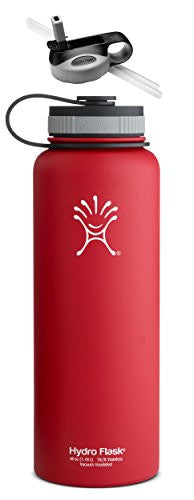 Hydro Flask Insulated Stainless Steel Water Bottle, Wide Mouth, 40-Ounce,40-Ounce,Lychee Red with Straw Lid