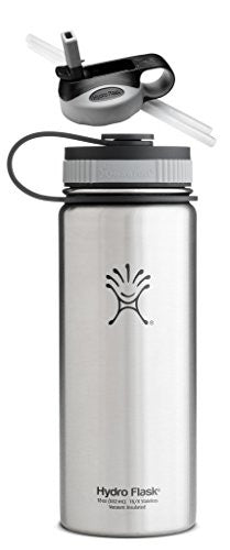 Hydro Flask Insulated Stainless Steel Water Bottle, Wide Mouth, 18-Ounce,18-Ounce,Classic Stainless with Straw Lid