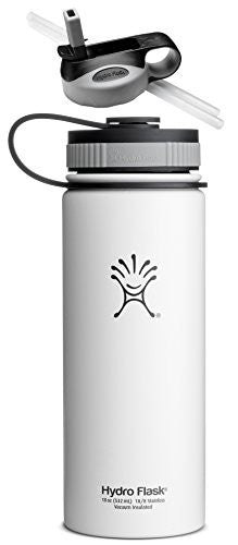 Hydro Flask Insulated Stainless Steel Water Bottle, Wide Mouth, 18-Ounce,18-Ounce,Arctic White with Straw Lid