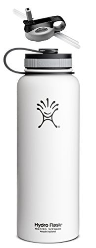 Hydro Flask Insulated Stainless Steel Water Bottle, Wide Mouth, 40-Ounce,40-Ounce,Arctic White with Straw Lid