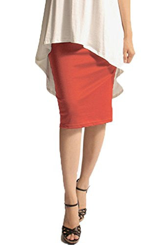 Azules Women's below the Knee Pencil Skirt - Made in USA (Coral / Large)