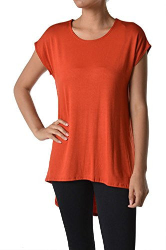 Azules Women's Solid Color Rayon Span High Low Cap Sleeved Tunic - Rust, L