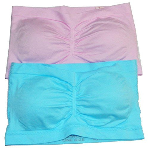 Anenome Women's Strapless Seamless Bandeau Padding (2 or 4 pack),One Size,2 Pack Light Blue_Light Pink