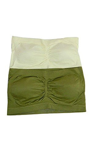 Anenome Women's Strapless Seamless Bandeau Padding (2 or 4 pack),One Size,2 Pack Olive_Ivory
