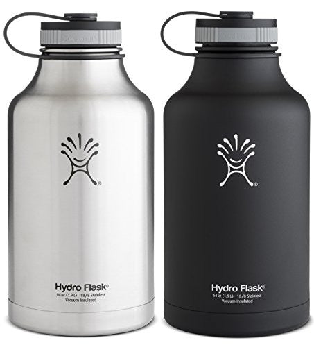 Hydro Flask Insulated Stainless Steel Wide Mouth Water Bottle and Beer Growler, 64-Ounce,64-Ounce,2 Pack: Black & Silver