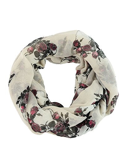 Skull and Roses Infinity Scarf - White