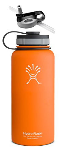 Hydro Flask Insulated Wide Mouth Stainless Steel Water Bottle, 32-Ounce,32-Ounce,Orange Zest w/Straw Lid.Orange Zest w/Straw Lid