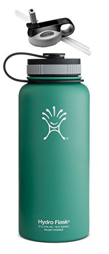 Hydro Flask Insulated Wide Mouth Stainless Steel Water Bottle, 32-Ounce,32-Ounce,Green Zen w/ Straw Lid