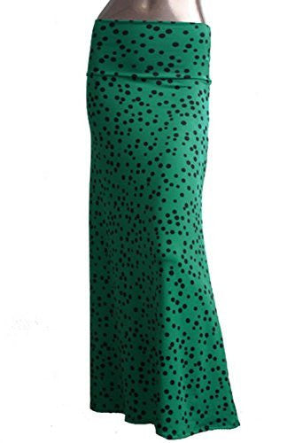 Azules Women's Maxi Skirt -Stretchy, Soft Fabric (Green Polka Dot / Large)
