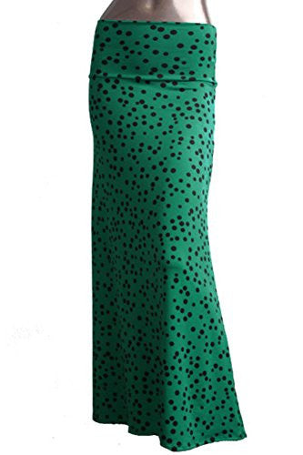 Azules Women's Maxi Skirt -Stretchy, Soft Fabric (Green Polka Dot / X-Large)