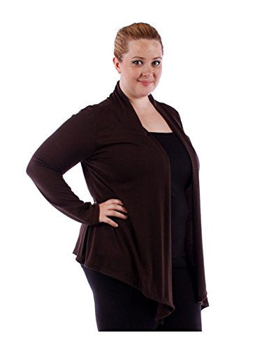 Yummy Plus Solid Cardigan - Brown 3X