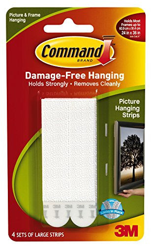 Picture Hanging Strips White Large 4 sets/pk