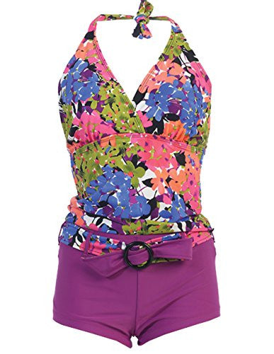 Marina West Women's Halter Tankini & Shorts Swimsuit Set (2 Piece) (Pink Hydrangea / Small)