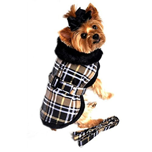 Brown Plaid Classic Dog Coat Harness with Matching Leash Small