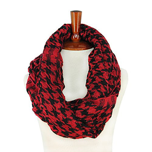 Women Unisex Houndstooth Pattern Warm Circle Ring Infinity Scarf Neck Warmer