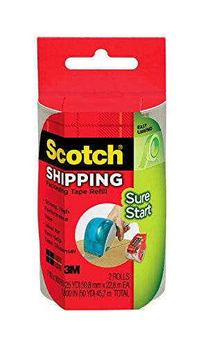 Sure Start Shipping Packaging Tape Clear 1.88 in x 900 in 2/pk