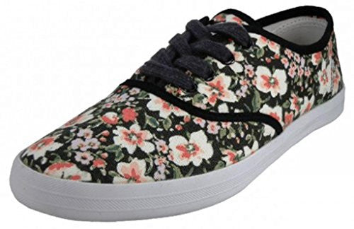Wholesale Women's Printed Canvas Shoes - Water Color Floral Print, Size 8