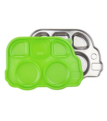Innobaby Din Din Smart Stainless Divided Platter with Sectional Lid, Green