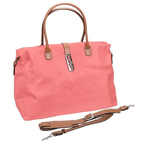 Tosca Women's Nylon Oversized Travel Tote Handbag (Pink)