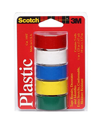 Colored Plastic Tape Assorted 3/4 in x 125 in 5/pack