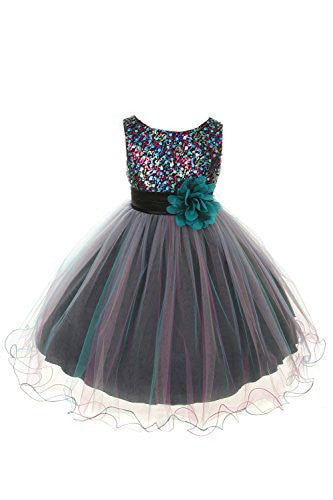 Multi-Sequin Trio Color Tulle Dress - Teal Blue, Size 8