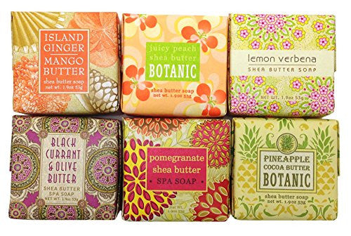 1.9oz Mini Soap Square, Island Ginger Mango Butter 1.9oz Mini Soap Square, Juicy Peach Shea Butter 1.9oz Mini Soap Square, Lemon Verbena 1.9oz Mini Soap Square, Black Currant & Olive Butter 1.9oz Mini Soap Square, Pomegranate Shea Butter 1.9oz Mini Soap S