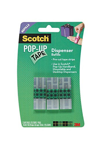 Pop-Up Tape Refills, 75 strips per pad 3/4 in x 2 in 3pds/pk