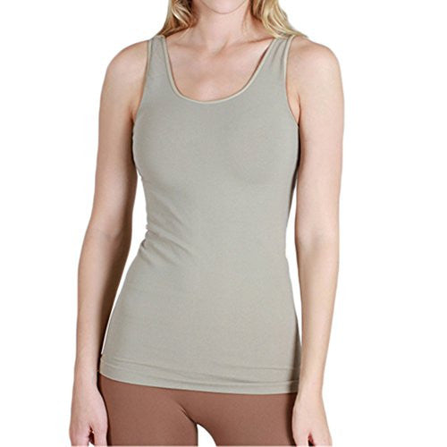 Seamless Plain Jersey Tank Top - 329 Silver Gray, One Size