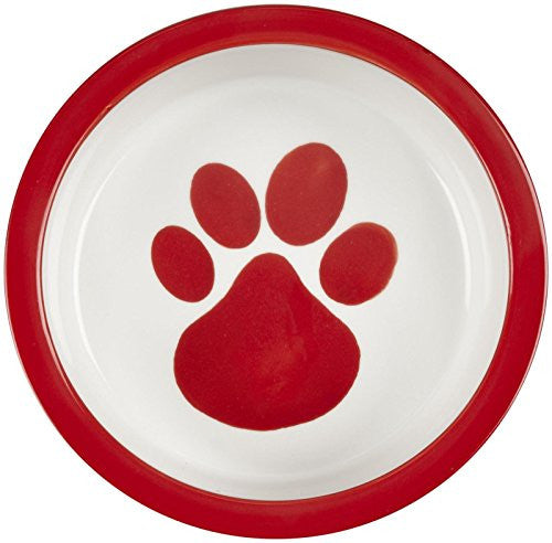 Melia Tomato Red Paw Ceramic Dog Bowl - Medium