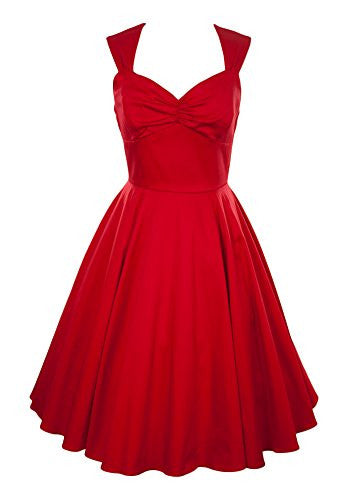 Ixia, Solid color, sweetheart tea dress with a pleated, A-line skirt and zipper closure on back, Red, Large