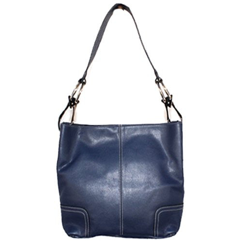 Classic Tall Large TOSCA Hobo Shoulder Handbag Navy Blue Silver Buckles Italy