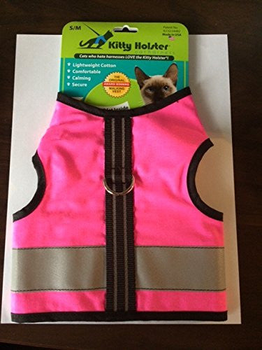 Kitty Holster Reflective Safety Cat Harness, Small/Medium, Neon Pink