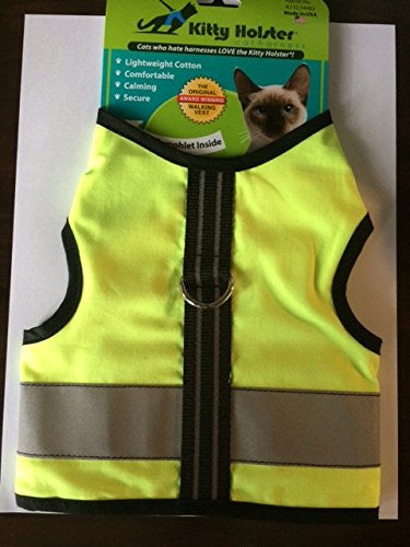 Kitty Holster Reflective Safety Cat Harness, Small/Medium, Neon Yellow