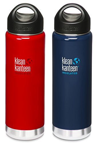 Klean Kanteen Wide Mouth Insulated Water Bottle with Loop Cap (Sangria Red/Night Sky, 20-Ounce)