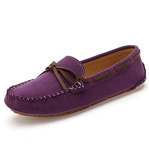 801zise42 SUNROLAN Women's Polyurethane Suede Flats Leather Loafers Driving Moccasins Work Shoes Purple11B(M) US
