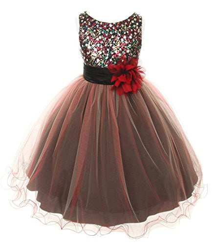 Multi-Sequin Trio Color Tulle Dress - Red, Size 8