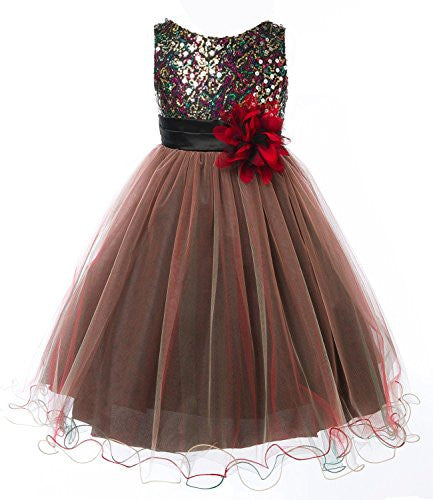 Multi-Sequin Trio Color Tulle Dress - Red, Size 14