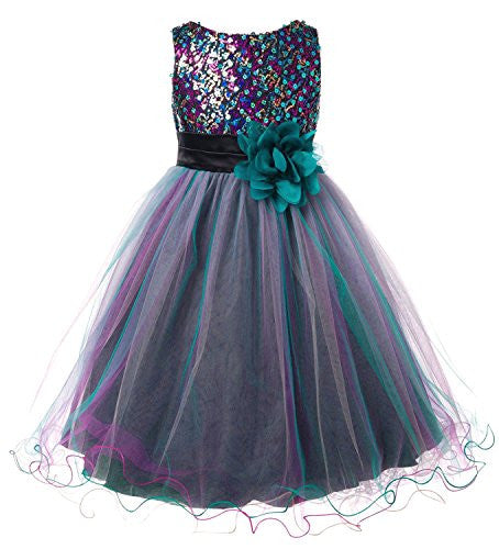 Multi-Sequin Trio Color Tulle Dress - Teal Blue, Size 4