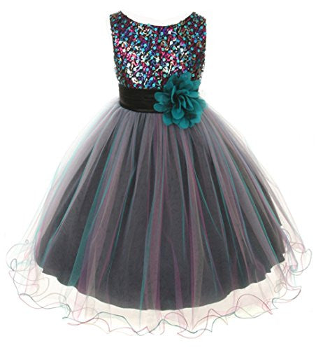 Multi-Sequin Trio Color Tulle Dress - Teal Blue, Size 6