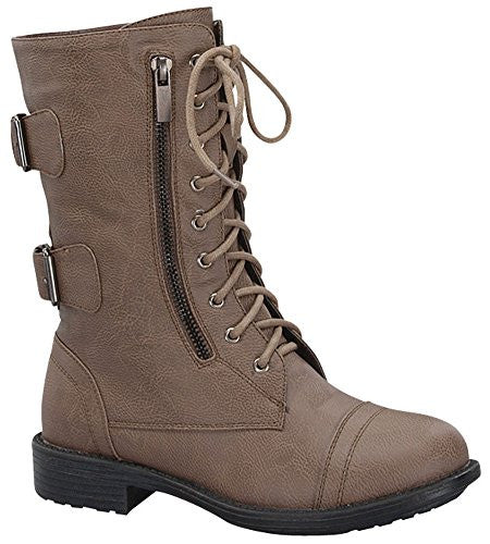 Women's Combat Military Cowboy Mid Calf Rubber Sole Lace up Ankle Buckles Strap Stean Punk Round Toe Flat Heel Motorcycle Casual Combat Boots Fashion Designer Comfort Shoes,6.5 B(M) US,Cognac-72