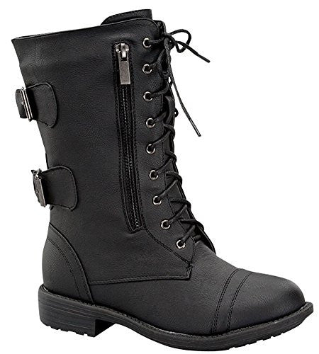 Women's Combat Military Cowboy Mid Calf Rubber Sole Lace up Ankle Buckles Strap Stean Punk Round Toe Flat Heel Motorcycle Casual Combat Boots Fashion Designer Comfort Shoes,7 B(M) US,Black-72