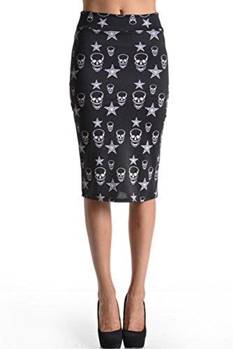 Azules Women's below the Knee Pencil Skirt - Made in USA (Black Skull / Large)