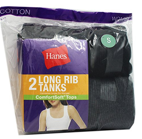Hanes Women's Long Rib Tank Black 2-Pack S