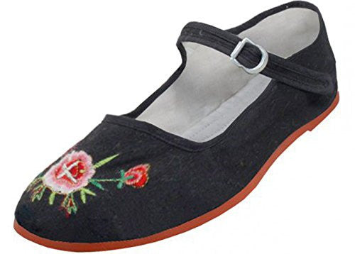 Wholesale Women's Classic Velvet Embroidery Mary Jane Shoes - Black, Size 5