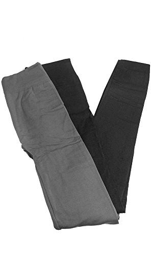 Anemone Women's Cozy Winter Fleece Lined Seamless Leggings One Size Black 2 Pk Gray/Charcoal One Size