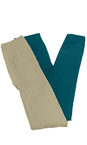 Anemone Women's Cozy Winter Fleece Lined Seamless Leggings One Size Black 2 Pk Ivory/Teal One Size