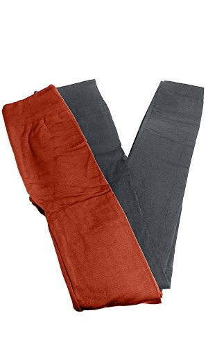 Anemone Women's Cozy Winter Fleece Lined Seamless Leggings One Size Black 2 Pk Gray/Rust One Size