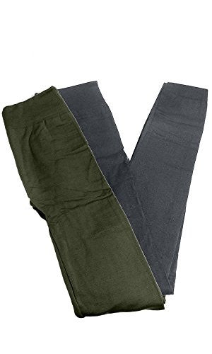 Anemone Women's Cozy Winter Fleece Lined Seamless Leggings One Size Black 2 Pk Dk Olive/Gray One Size