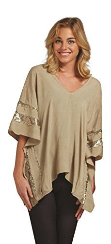 Edie Sequin Poncho,Tan